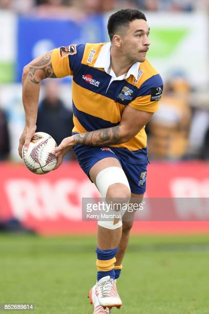 Terrence Hepetema of Bay of Plenty looks to pass during the round six Mitre 10 Cup match between Bay of Plenty and Counties Manukau Tauranga Domain...