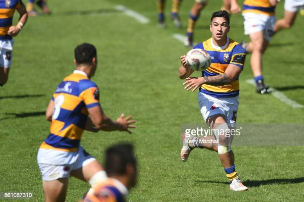 Terrence Hepetema of Bay of Plenty passes during the round nine Mitre 10 Cup match between Bay of Plenty and Waikato at Tauranga Domain on October 14...