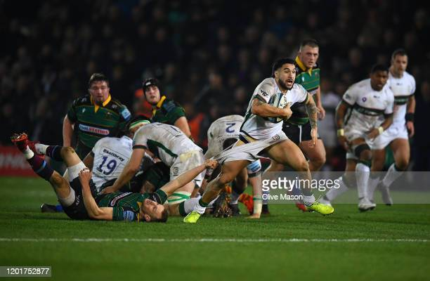 Terrence Hepetema of London Irish is tackled during the Gallagher Premiership Rugby match between Northampton Saints and London Irish at on January...