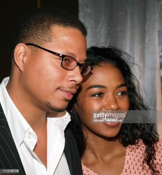 Terrence Howard and Ananda Lewis during Terrence Howard My Custom Style Press Conference at Westin Bonaventure Hotel in Los Angeles California United...