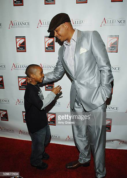 Terrence Howard and Jesse Jr during Jesse Raudales and Terrence Howard Peace for the Children Art Show at PounderKone Artspace in Glendale California...