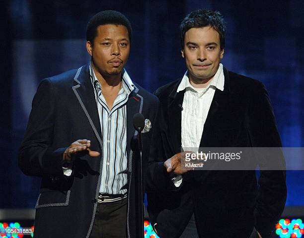 Terrence Howard and Jimmy Fallon during 2005 MTV Movie Awards Show at Shrine Auditorium in Los Angeles California United States