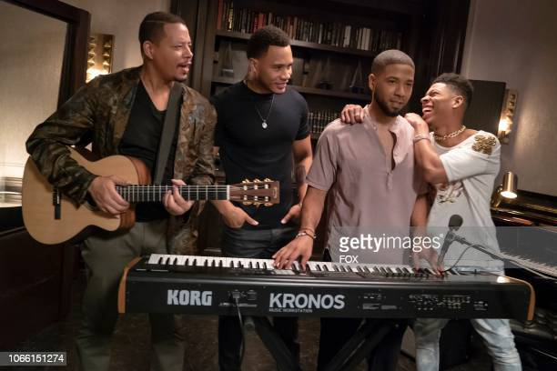 Terrence Howard Trai Byers Jussie Smollett and Bryshere Y Gray in the Treasons Stratagems and Spoils episode of EMPIRE airing Wednesday Nov 14 on FOX