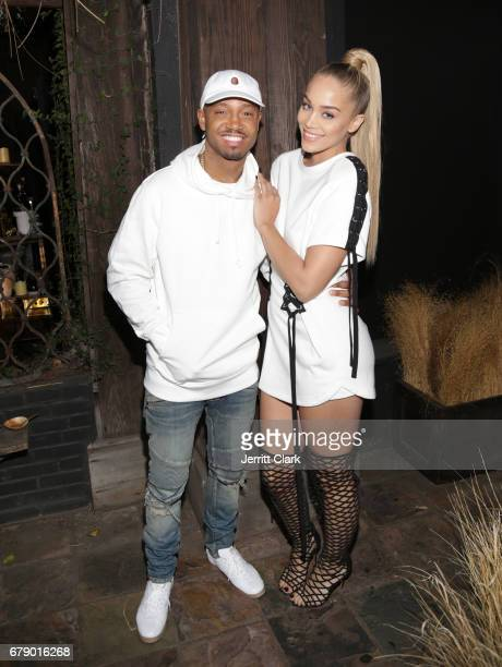 Terrence J and Jasmine Sanders attend the Roc96 x Madeworn Barney's Launch Event at Madeworn Studios on May 4 2017 in Los Angeles California