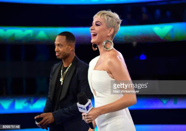 Terrence J and Katy Perry attend the 2017 MTV Video Music Awards at The Forum on August 27 2017 in Inglewood California