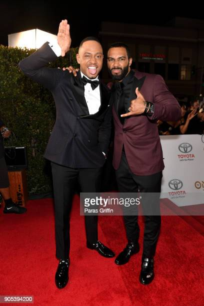Terrence J and Omari Hardwick attend the 49th NAACP Image Awards at Pasadena Civic Auditorium on January 15 2018 in Pasadena California