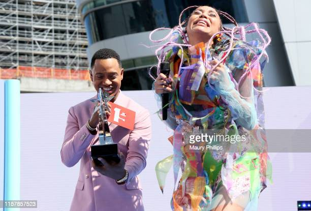 Terrence J and Sho Madjozi with the Best New International Act award onstage during the Pre Show at the 2019 BET Awards at Microsoft Theater on June...