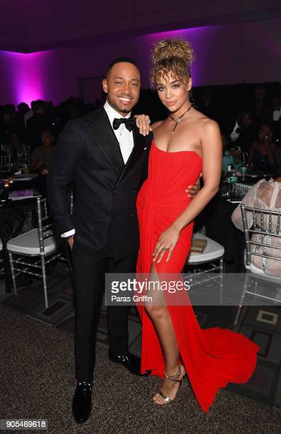 Terrence Jenkins and Jasmine Sanders attend 49th NAACP Image Awards After Party at Pasadena Civic Auditorium on January 15 2018 in Pasadena California