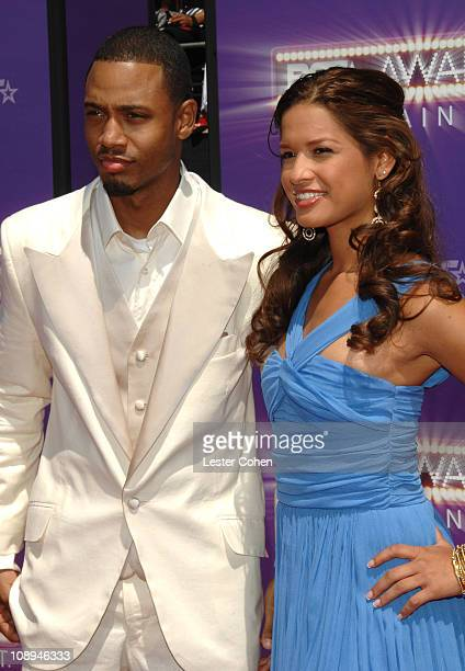 Terrence Jenkins and Rocsi during BET Awards 2007 Black Carpet at Shrine Auditorium in Los Angeles California United States