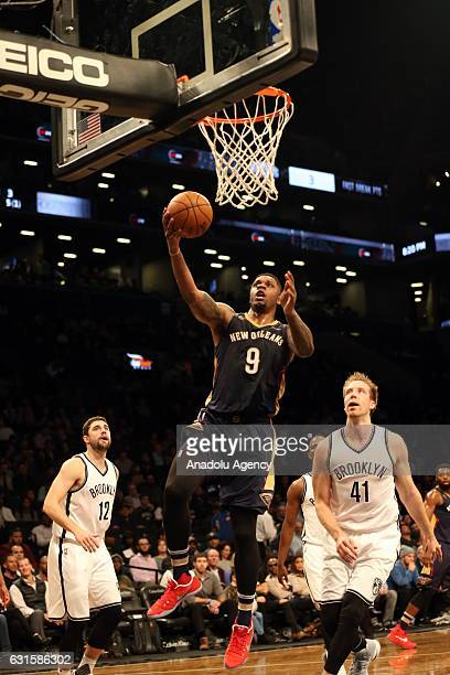 Terrence Jones of New Orleans Pelicans during a match against Brooklyn Nets at Barclays Center in Brooklyn borough of New York USA January 12 2017