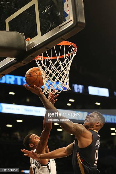 Terrence Jones of New Orleans Pelicans during an NBA match against Brooklyn nets at Barclays Center in Brooklyn borough of New York USA January 12...