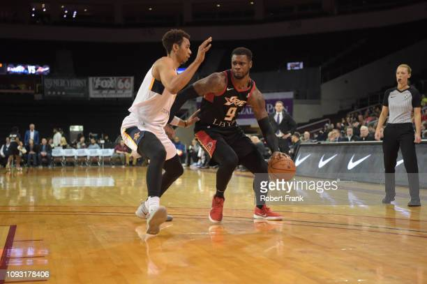 Terrence Jones of the Erie BayHawks drives at the top of the key against the Salt Lake City Stars at the Erie Insurance Arena on February 2 2019 in...