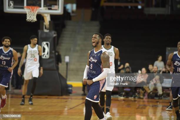 Terrence Jones of the Erie BayHawks is fired up after scoring thirty six points over 3 quarters against the Wisconsin Herd at the Erie Insurance...