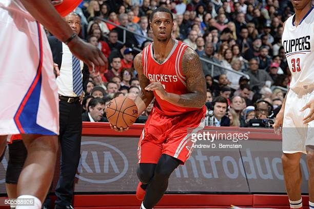 Terrence Jones of the Houston Rockets drives to the basket against the Los Angeles Clippers during the game on January 18 2016 at STAPLES Center in...