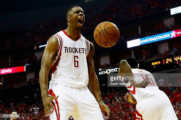Terrence Jones of the Houston Rockets reacts after dunking against the Los Angeles Clippers in the first half during Game Seven of the Western...