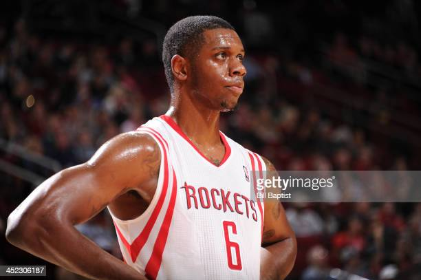 Terrence Jones of the Houston Rockets reacts to a play against the Atlanta Hawks on November 27 2013 at the Toyota Center in Houston Texas NOTE TO...