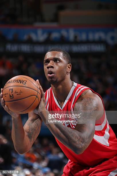 Terrence Jones of the Houston Rockets shoots a free throw against the Oklahoma City Thunder on January 29 2016 at Chesapeake Energy Arena in Oklahoma...