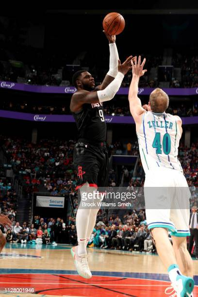 Terrence Jones of the Houston Rockets shoots the ball during the game against the Charlotte Hornets on February 27 2019 at Spectrum Center in...