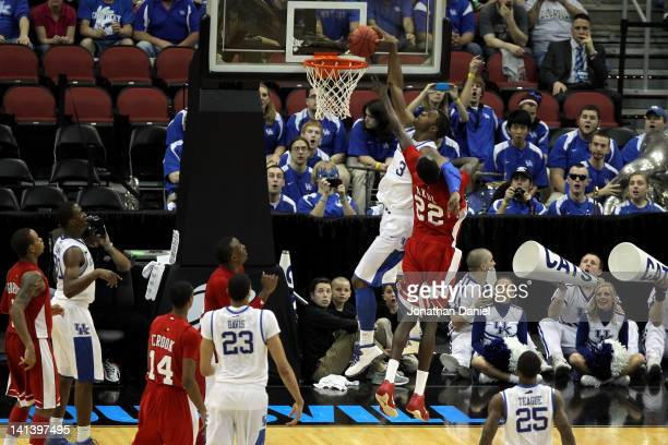 Terrence Jones of the Kentucky Wildcats dunks against Teeng Akol of the Western Kentucky Hilltoppers during the second round of the 2012 NCAA Men's...
