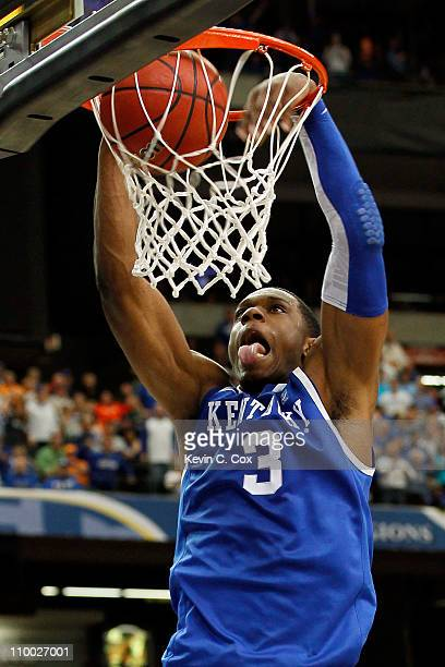 Terrence Jones of the Kentucky Wildcats dunks against the Alabama Crimson Tide during the semifinals of the SEC Men's Basketball Tournament at...