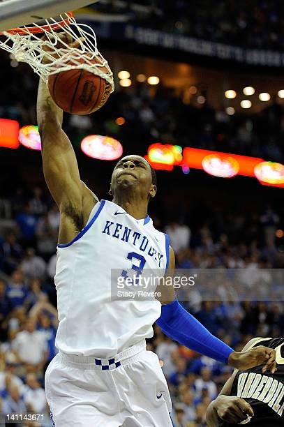 Terrence Jones of the Kentucky Wildcats dunks against the Vanderbilt Commodores during the championship game of the SEC Men's Basketball Tournament...