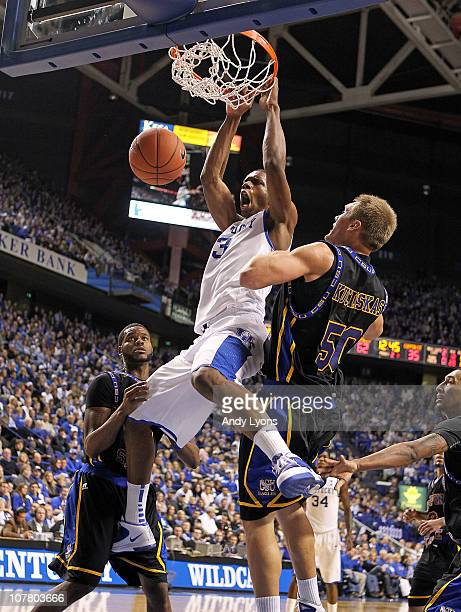 Terrence Jones of the Kentucky Wildcats dunks the ball during the game against the Coppin State Eagles at Rupp Arena on December 28, 2010 in...