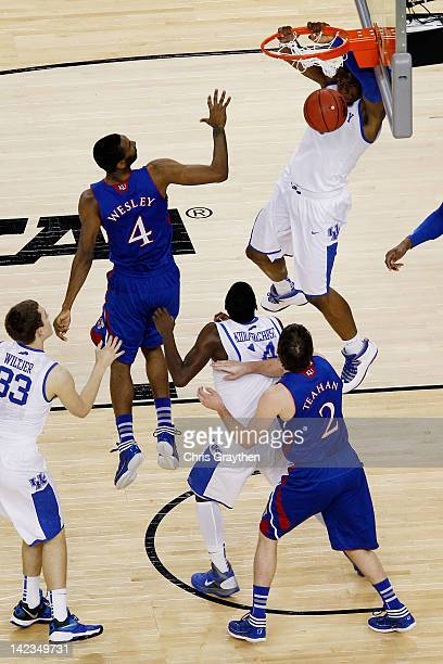 Terrence Jones of the Kentucky Wildcats dunks the ball in the first half against the Kansas Jayhawks in the National Championship Game of the 2012...