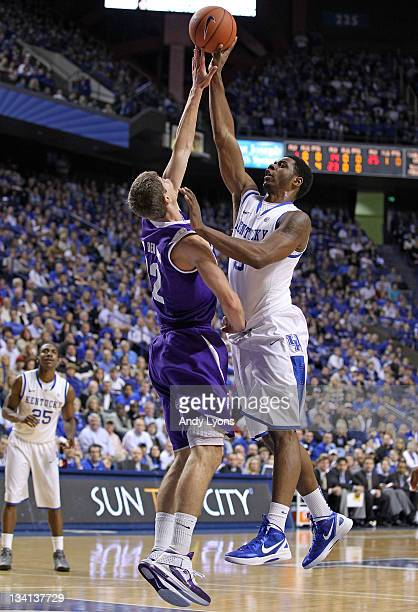 Terrence Jones of the Kentucky Wildcats gives shoots the ball while defended by Thomas Van Der Mars of the Portland Pilots at Rupp Arena on November...