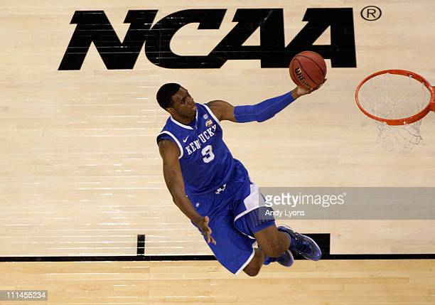 Terrence Jones of the Kentucky Wildcats goes up for the layup against the Connecticut Huskies during the National Semifinal game of the 2011 NCAA...