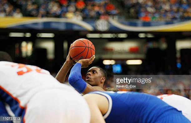Terrence Jones of the Kentucky Wildcats shoots against the Florida Gators during the championship game of the SEC Men's Basketball Tournament at...