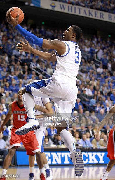 Terrence Jones of the Kentucky Wildcats shoots the ball during the game against Georgia Bulldogs at Rupp Arena on March 1 2012 in Lexington Kentucky
