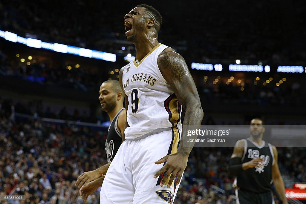 Terrence Jones #9 of the New Orleans Pelicans celebrates after scoring during the second half of a game against the San Antonio Spurs at the Smoothie King Center on January 27, 2017 in New Orleans, Louisiana.