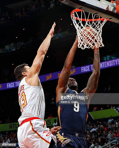 aeb26018139f95 Terrence Jones of the New Orleans Pelicans draws a foul as he scores  against Kris Humphries