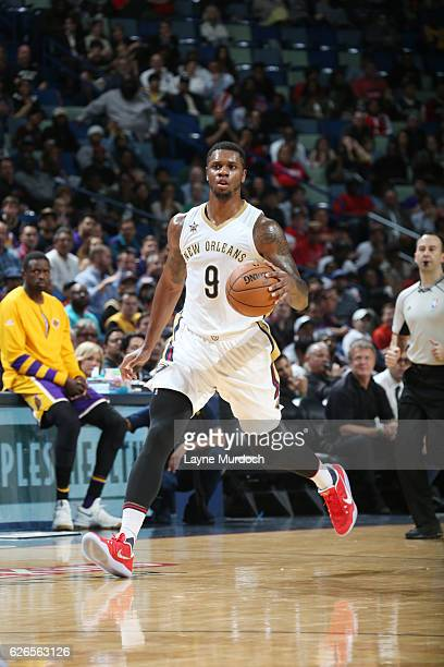 Terrence Jones of the New Orleans Pelicans drives to the basket against the Los Angeles Lakers against the Los Angeles Lakers during the game on...