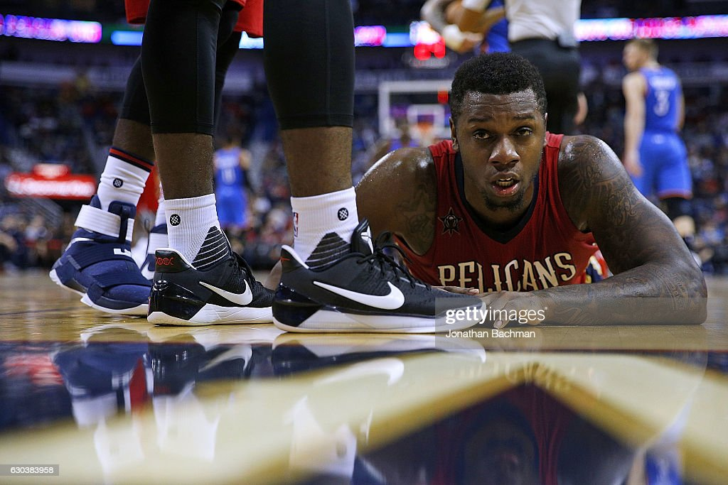 Terrence Jones #9 of the New Orleans Pelicans lays on the floor after a play during the second half of a game against the Oklahoma City Thunder at the Smoothie King Center on December 21, 2016 in New Orleans, Louisiana.