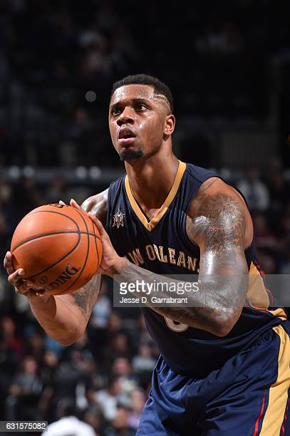 Terrence Jones of the New Orleans Pelicans shoots a foul shot against the Brooklyn Nets on January 122017 at Barclays Center in Brooklyn New York...