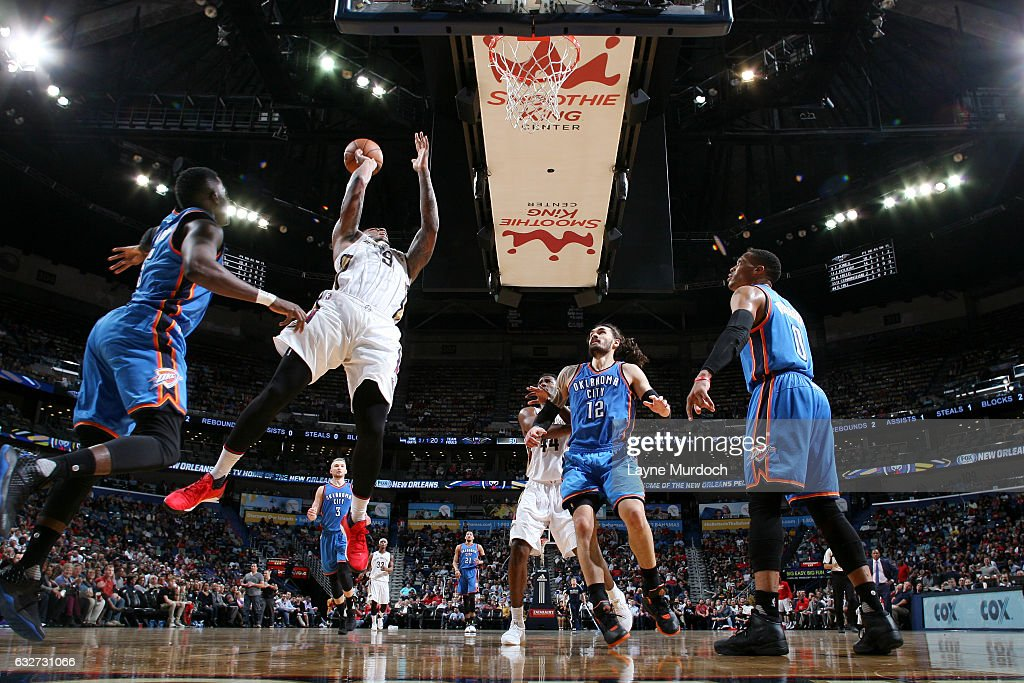 Terrence Jones #9 of the New Orleans Pelicans shoots the ball during the game against the Oklahoma City Thunder on January 25, 2017 at the Smoothie King Center in New Orleans, Louisiana.