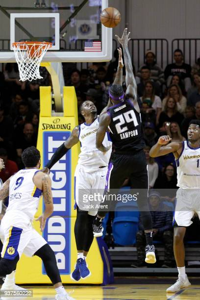 Terrence Jones of the Santa Cruz Warriors plays defense against the Reno Bighorns during the GLeague game on March 24 2018 at Kaiser Permanente Arena...