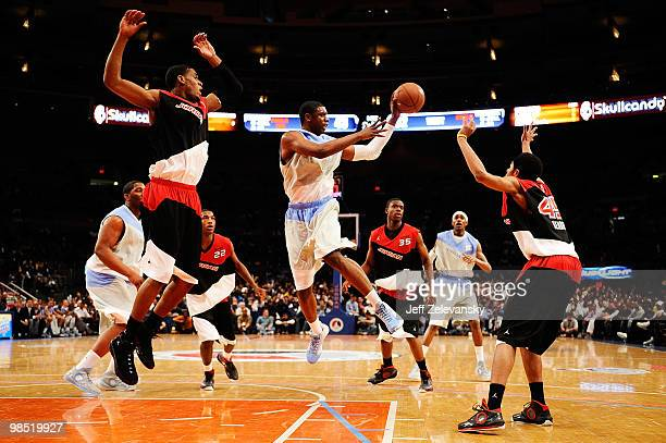 Terrence Jones of West Team goes for a shot against Perry Jones and Jelan Kendrick of East Team during the National Game at the 2010 Jordan Brand...