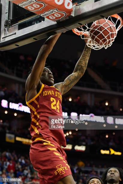Terrence Lewis of the Iowa State Cyclones dunks against the Oklahoma State Cowboys in the second half during the first round of the Big 12 Basketball...