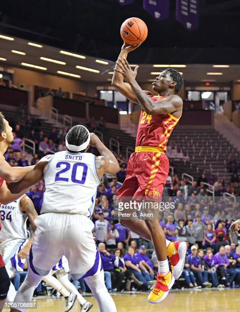 Terrence Lewis of the Iowa State Cyclones scores a basket against Xavier Sneed of the Kansas State Wildcats during the first half at Bramlage...
