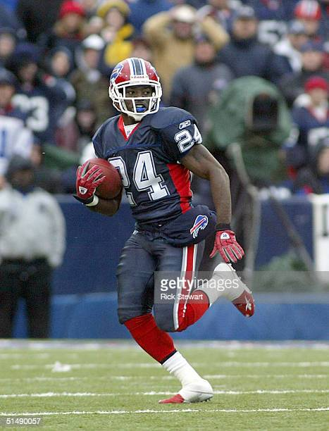 Terrence McGee of the Buffalo Bills runs back a kickoff against the Miami Dolphins on October 17, 2004 at Ralph Wilson Stadium in Orchard Park, New...