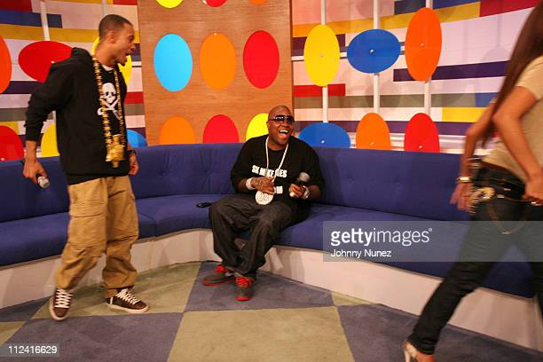 Terrence Mike Jones and Rocsi during Mike Jones Visits 106 Park May 18 2007 at BET in New York New York United States