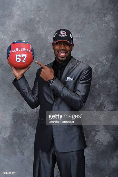 Terrence Mitchell selected by the New Jersey Nets poses for a portrait during the 2009 NBA Draft at The WaMu Theatre at Madison Square Garden on June...