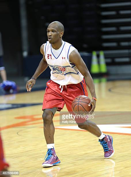 Terrence Philips in white brings the ball up the court during the National Basketball Players Association Top 100 Camp on June 18 2014 at John Paul...