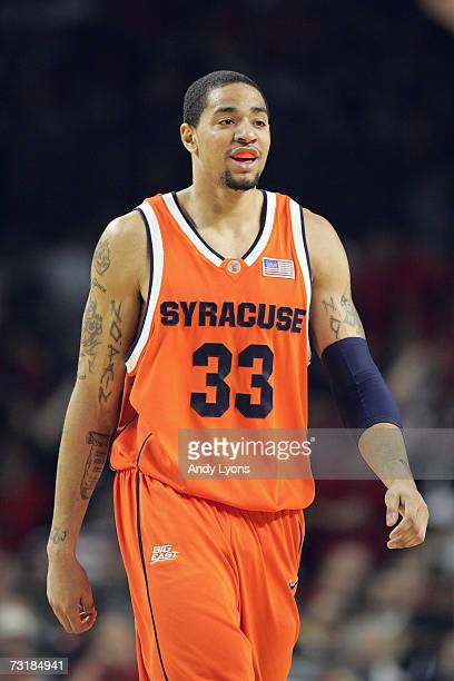 Terrence Roberts the Syracuse Orange walks on the court against the Louisville Cardinals during the game on January 27 2007 at Freedom Hall in...