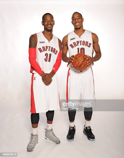 Terrence Ross and DeMar DeRozan of the Toronto Raptors poes for a photo during Media Day September 29 2014 at the Air Canada Centre in Toronto...