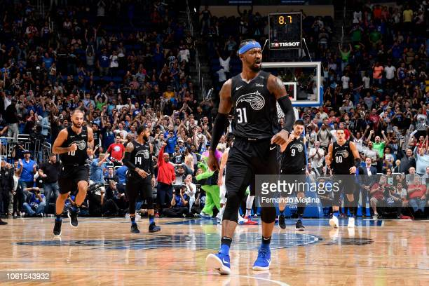 Terrence Ross of the Orlando Magic celebrates after making the game winning shot against the Philadelphia 76ers on November 14 2018 at Amway Center...