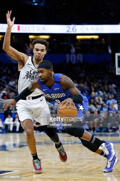 Terrence Ross of the Orlando Magic drives to the basket against Jerome Robinson of the LA Clippers during the second half at Amway Center on January...