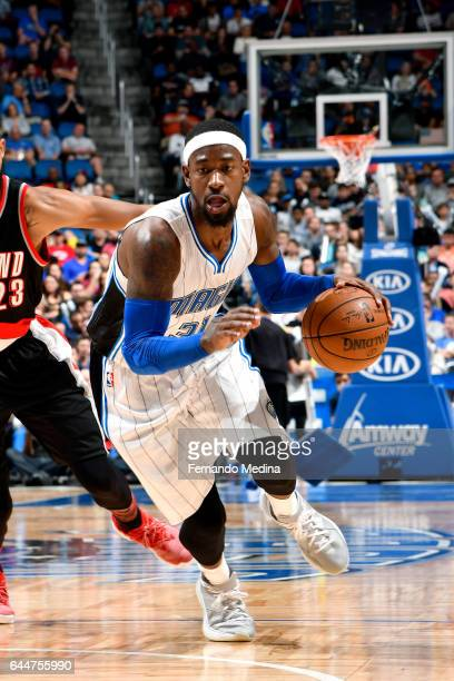 Terrence Ross of the Orlando Magic drives to the basket during the game against the Portland Trail Blazers on February 23 2017 at Amway Center in...